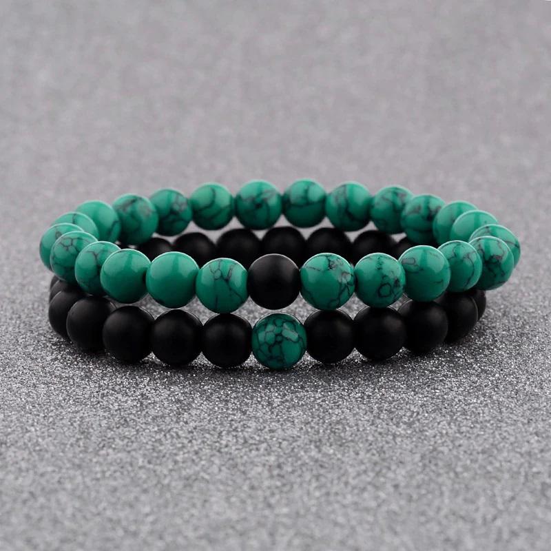 Green Black Couple Bracelets Distance Howlite Onyx