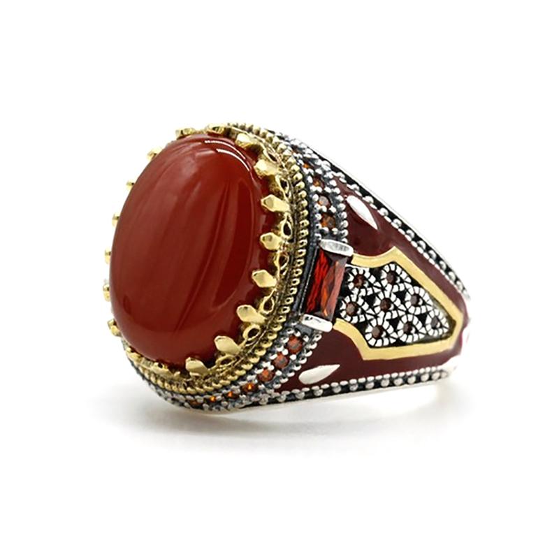 Red Agate Men's Ring Turkish Handmade CZ S925
